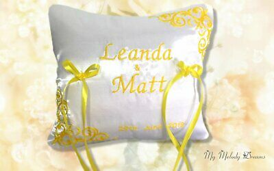 Personalised Embroidered Wedding Bearer Ring Cushion Pillow Yellow White Sun  • 18£