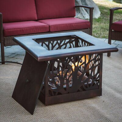 $419 • Buy Gas Fire Pit Square Heater W/ TANK COVER TABLE Propane Decorative Firepit Bronze