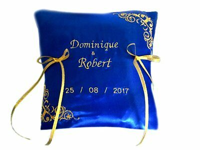 Personalised Embroidered Wedding Ring Bearer Cushion Pillow Royal Blue Gold   • 18£