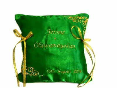 Personalised Embroidered Wedding Ring Bearer Cushion Pillow Emerald Green Gold  • 18£