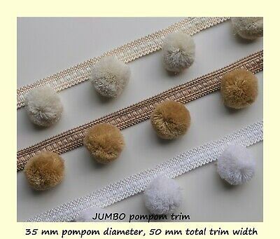 UNIQUE JUMBO POM POM Trim - VERY Large Pompoms 35 Mm, Total Width 50 Mm  • 1.35£
