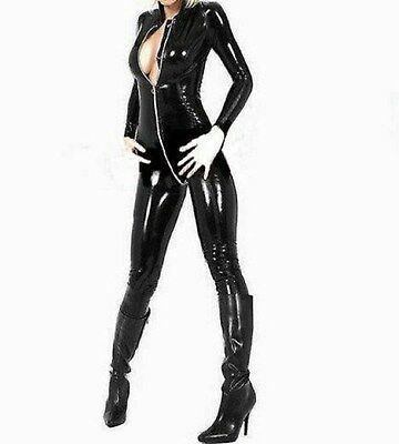 Latex Look Sexy Black  Catsuit Jumpsuit 2 Way Crotch Zip Long Sleeves • 25.99£