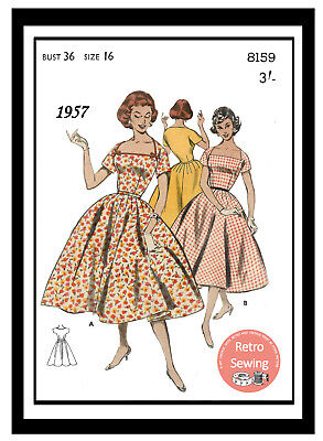 1950s Rockabilly Style Dress Sewing Pattern, Bust 36 - Reproduction Pattern • 18.99£