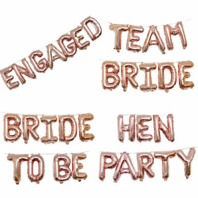 16  Rose Gold Team Bride Hen Party Foil Balloons Wedding Decoration Sashes • 3.99£