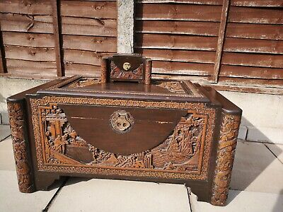 Antique Oriental Camphor Wood Chest With Matching Jewellery Box.  • 250£