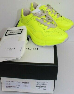 26a44263af1 NEW Womens Gucci Rhyton Sneakers 36 6.5 Neon Yellow Fluorescent Leather  Trainers • 425.00