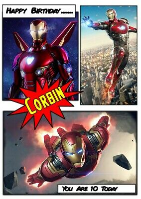 Personalised Birthday Card Iron Man Any Name/relation/age • 2.75£