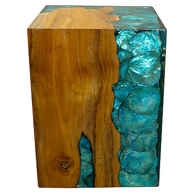 $329 • Buy Blue Resin Lucite And Teak Root Wood End Side Night Stand Table BRN13