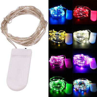 2M 20LED String Battery Operated Silver Wire Fairy Lights Xmas Home Party Decor • 1.99£