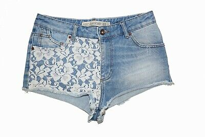 Zara Denim Women Shorts With White Lace Details - EUR Size 36 • 10£