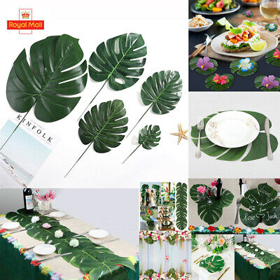 12 Tropical Artificial Palm Leaves Jungle Foliage Hawaiian Luau Summer Party Dec • 3.78£