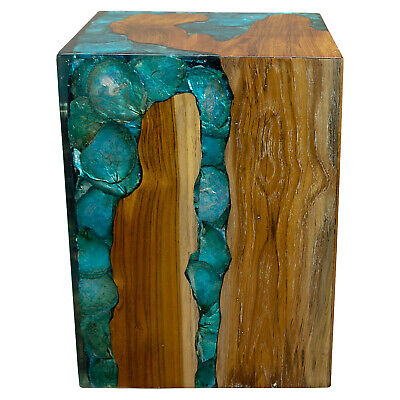 $329 • Buy Blue Resin Lucite And Teak Root Wood End Side Night Stand Table BRN18