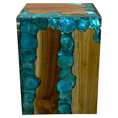 $329 • Buy Blue Resin Lucite And Teak Root Wood End Side Night Stand Table BRN22
