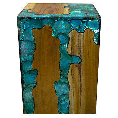 $329 • Buy Blue Resin Lucite And Teak Root Wood End Side Night Stand Table BRN23