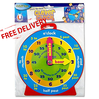 £4.11 • Buy TEACHING CLOCK Childrens Learn To Tell The Time Boys Girls Kids Educational Toy
