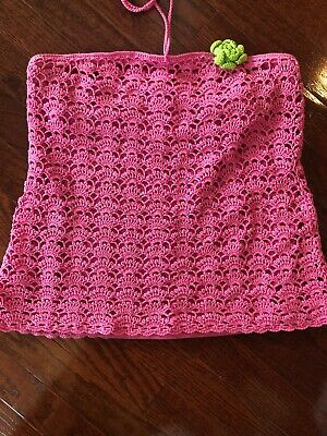 MS Lilly Pulitzer PINK Crochet String Tie Top Strapless Halter Open Knit Tube • 10.85£