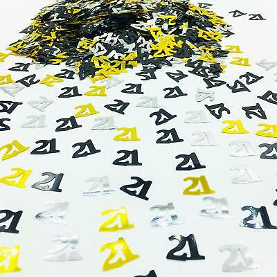 Black Gold & Silver 21st Birthday Party Table Confetti Decorations Age Sprinkles • 2.29£