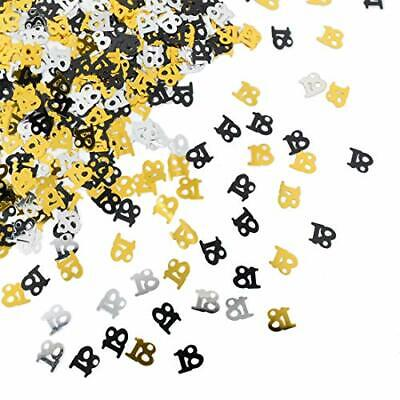 £2.29 • Buy Black Gold & Silver 18th Birthday Party Table Confetti Decorations Age Sprinkles