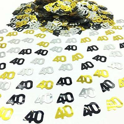 £2.39 • Buy Black Gold & Silver 40th Birthday Party Table Confetti Decorations Age Sprinkles