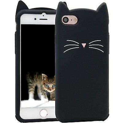 £5.73 • Buy For IPhone 7 / IPhone 8 - SOFT RUBBER SILICONE CASE COVER BLACK CAT WHISKERS EAR