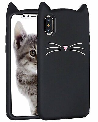 £5.73 • Buy For IPhone XS MAX (6.5 ) Soft Rubber Silicone Case Cover Black Cat Whiskers Ears