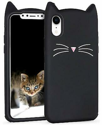 £5.73 • Buy For IPhone XR (6.1 ) - Soft Rubber Silicone Case Cover Black Cat Whiskers Ears