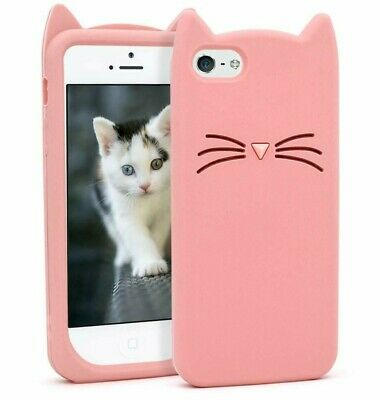£5.73 • Buy For IPhone 5C - Soft Rubber Silicone Skin Case Cover Pink Kitty Cat Whiskers Ear