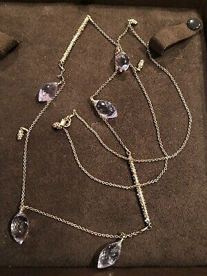 "$74.99 • Buy Alexis Bittar Rose Gold Long Amethyst Necklace 34"".  Matching Earrings For Sale"