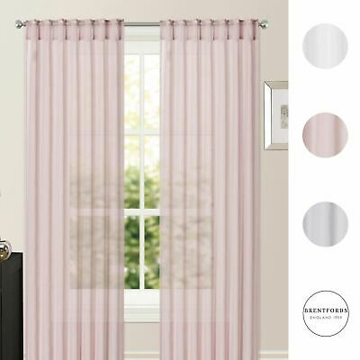 View Details Brentfords Pair Of Sheer Voile Net Curtains Hidden Tab Top Silver Blush Panels • 10.75£