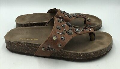 $19.99 • Buy Roper Women's Brown Leather Toe Strap Jeweled Sandals Size 9