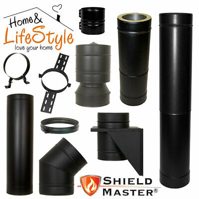 Shieldmaster Twin Wall Insulated Multifuel Flue Pipe + Accessories Black  • 23.03£