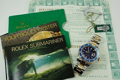 $ CDN11841.82 • Buy ROLEX 16613 TUTONE SUBMARINER BLUE DIAL W/ BOX, PAPERS & TAG DATES 1991