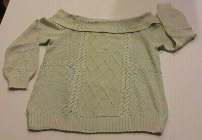 Lane Bryant Off-The-Shoulder Cable Sweater Plus Size Sprout Light Green 18/20 2X • 35.81£
