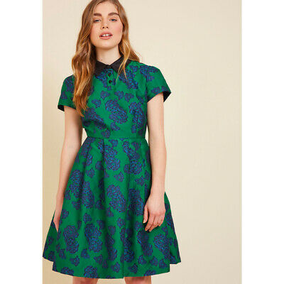 3151dd17 Modcloth Uniqueness On Offer Shirt Dress In Bloom Brocade Fit Flare NWOT  Small • 36.00$