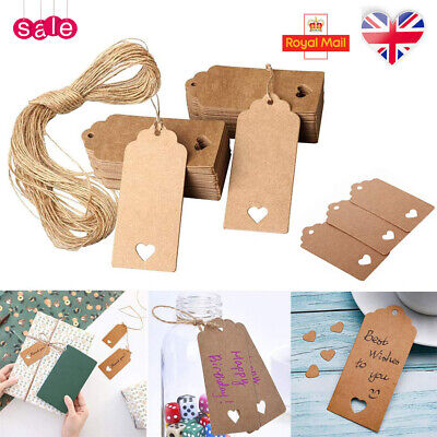 50/100 Kraft Paper Gift Tags Scallop Label Luggage Wedding Gift Tags+Strings UK • 3.72£