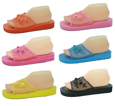 $8.98 • Buy   Mesh Sequin Mid-Platform Chinese Open Toe Comfort Slippers Sizes 6 7 8 9 10 11