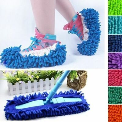 1 Pair Microfibre Duster Shoe Sock Slippers Mop Remover Cleaning Floor Polishers • 3.25£