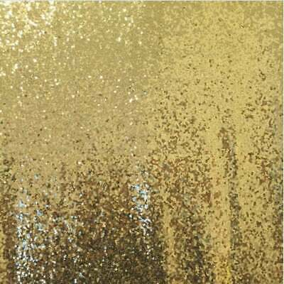 £1.09 • Buy Light Gold 3mm Sequin Fabric Sparkly Material 2W Stretch 130cm Wide Metre