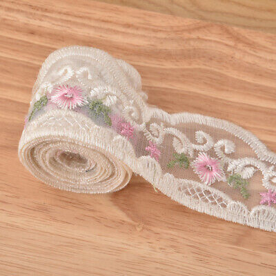 £1.75 • Buy 2 Yards Mesh Flower Lace Fabric Trim Embroidered Wedding Dress Sewing Craft DIY