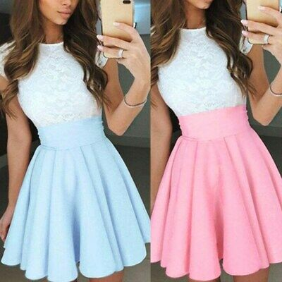 AU14.99 • Buy Womens Lace Party Cocktail Mini Dress Ladies Summer Short Sleeve Skater Dresses