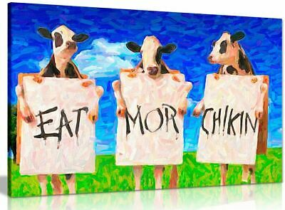 £10 • Buy Cows Eat More Chicken Oil Canvas Wall Art Wood Framed Ready To Hang XXL