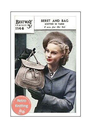 1940s Beret And Bag Knitting Pattern Copy • 3.99£