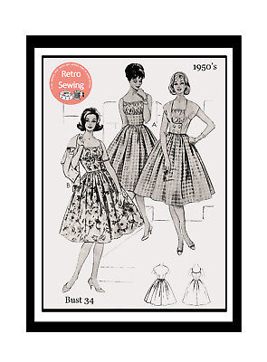 1950s Rockabilly Summer Dress And Jacket Sewing Pattern  Bust 34 • 18.99£