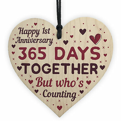 1st 2nd 5th 10th 20th 25th 50th Wedding Anniversary Gift Wood Heart Wife Husband • 3.99£