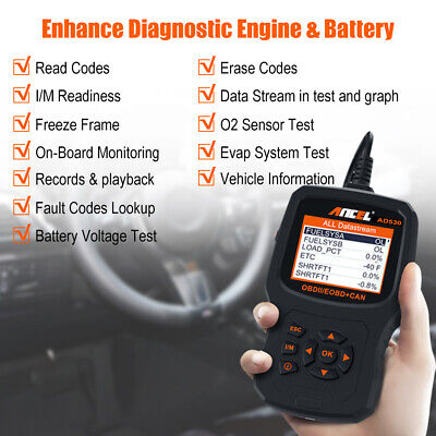 Universal OBD2 Scanner Code Reader Car Engine O2 Sensor Evap System Battery Test • 59.99$