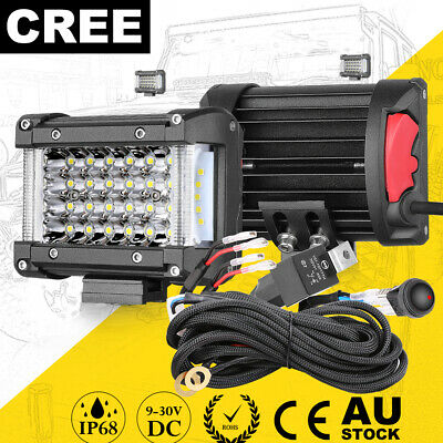 AU48.69 • Buy 8inch Cree Side Shooter  LED Work Light Bar Combo Driving 4WD Truck ATV Tri Row