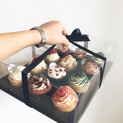 AU12.99 • Buy Clear Cupcake Box Container With Ribbon 4/6 Hole Window Display Party Black/Gold