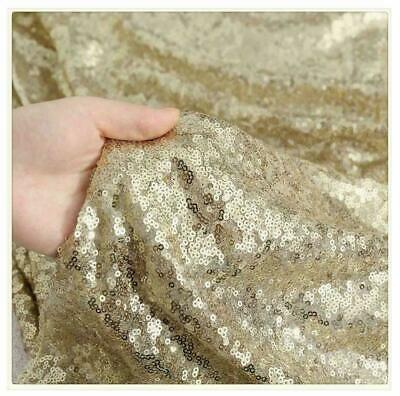 £8.99 • Buy Champagne Gold 3mm Sequin Fabric Sparkly Bling 2W Stretch 130cm Wide Metre