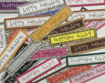 30 RANDOM Mix BIRTHDAY Sentiments/Banners Printed Hand Made Card Toppers (BOB5) • 1.79£