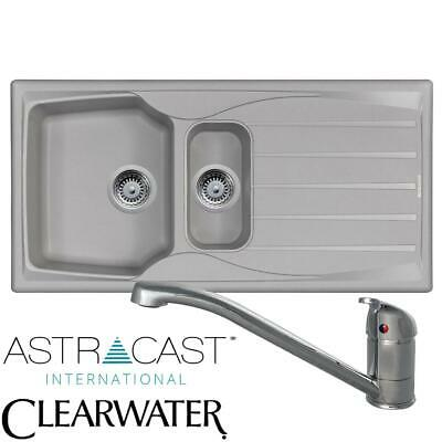 Astracast Sierra 1.5 Bowl Light Grey Kitchen Sink And Clearwater Creta Mixer Tap • 120.99£